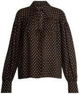 Joseph Crosby polka-dot print tie-neck silk-chiffon shirt