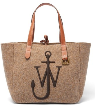J.W.Anderson Belt Embroidered-anchor Wool-felt Tote Bag - Beige