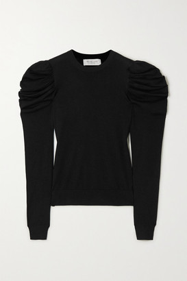 Michael Kors Tropical Ruched Wool, Silk And Cashmere-blend Sweater - Black