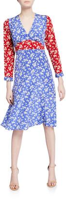 HVN Hoover Long-Sleeve Deep V-Neck Dress