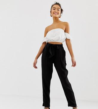 New Look Tapered Tie Waist PANTS-Black