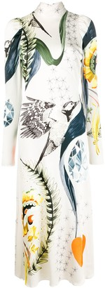 Temperley London Bird Print Mid-Length Dress