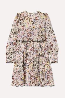 Ganni Floral-print Plisse-georgette Mini Dress - Ivory