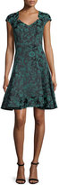 Zac Posen Floral-Print Cap-Sleeve Party Dress, Teal/Midnight