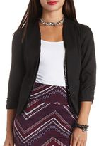 Charlotte Russe Sequin-Trimmed Open Front Cropped Blazer