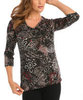 Le Mieux Black & Red Abstract Three-Quarter Sleeve Top