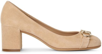 Salvatore Ferragamo Gancini suede almond pumps