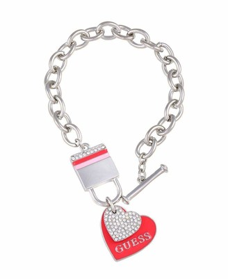 GUESS Toggle Link Bracelet with Heart Charms and Lock