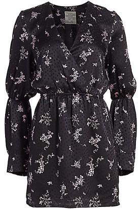 Baum und Pferdgarten Romance & Rituals Ariadne Floral-Print Mini Silk A-Line Bell-Sleeve Dress