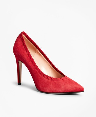Brooks Brothers Suede Whip-Stitch Point-Toe Pumps