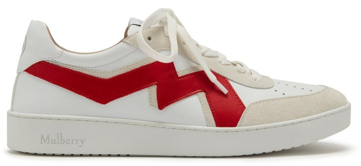 Mulberry Jumping Lace-up Sneaker White and Red Smooth Calf