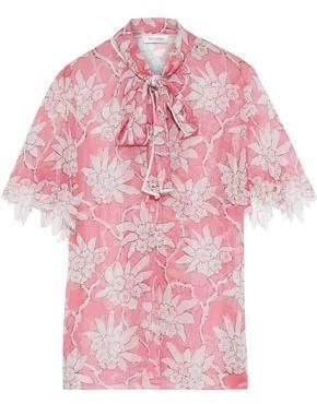 Valentino Pussy-bow Floral-print Silk-chiffon Blouse