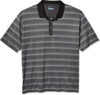 PGA TOUR Men's Big & Tall Short Sleeve Striped Polo Shirt