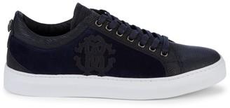Roberto Cavalli Iguana-Embossed Leather & Suede Sneakers
