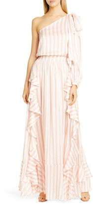 PatBO Cabana One-Shoulder Ruffle Gown
