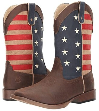 Roper American Patriot (Brown Faux Leather Vamp Star/Stripes Shaft) Cowboy Boots