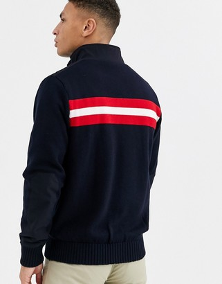 Calvin Klein Golf navigation lined knitted zip sweat in navy