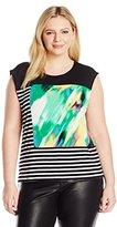 Calvin Klein Women's Plus-Size Sleeveless Mixed Print T-Shirt