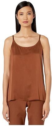 Eileen Fisher Sandwashed Silk Charmeuse U-Neck Cami Tank (Bone) Women's Clothing