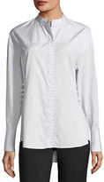 3.1 Phillip Lim Long-Sleeve Button-Front Poplin Shirt w/ Pearlescent Embroidery