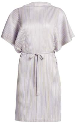Pleats Please Issey Miyake Shiny Stripes Short Sleeve Dress