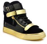 Giuseppe Zanotti Double Zip Velvet Metallic High-Top Sneakers