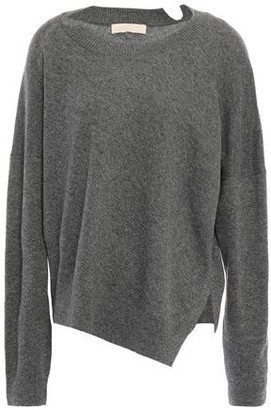 Vanessa Bruno Asymmetric Melange Wool And Cashmere-blend Sweater