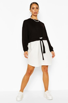 boohoo Cotton Mix Sweat Dress