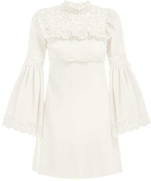Giambattista Valli Lace-panel Crepe Dress - Womens - Ivory