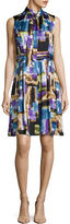 Ellen Tracy Printed Pleat A-Line Dress