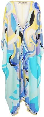 Emilio Pucci V Neck Printed Georgette Maxi Dress