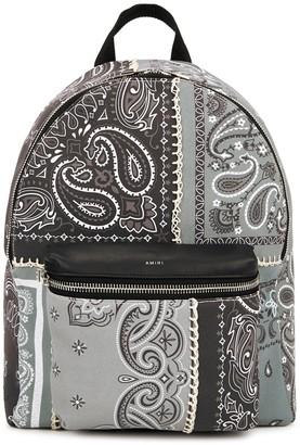 Amiri Grey printed canvas backpack