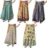 Maple Clothing Wholesale 5 Pcs Lot Two Layers Women's Indian Sari Magic Wrap Around Long Skirt