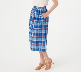 Joan Rivers Classics Collection Joan Rivers Petite Madras Plaid Midi Skirt