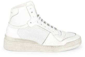 Saint Laurent SL24 High-Top Perforated Leather Sneakers