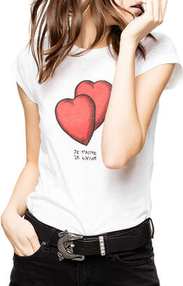 Zadig & Voltaire Skinny Heart Graphic Print Shirttail Tee