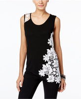 INC International Concepts Petite Lace-Detail Asymmetrical Tank, Only at Macy's