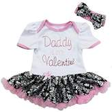 Ameda Baby Black Damask Daddy is my Valentine Bodysuit Tutu Dress Large