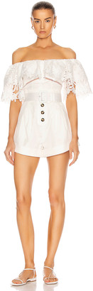Self-Portrait Lily Guipure Playsuit in White | FWRD