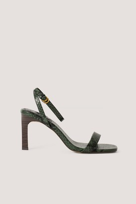 NA-KD Wooden Heel Ankle Strap Sandals