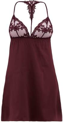 Fleur of England Bordeaux Lace Trimmed Silk Blend Satin Slip Dress - Womens - Dark Red