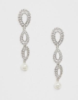 Crystal Pearl Liars & Lovers rhinestone drop statement earrings-Silver