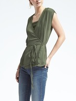 Banana Republic Easy Care Lace-Trim Wrap Top