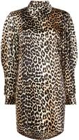 Ganni Leopard Print Zipped Collar Dress