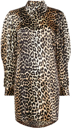 Ganni Leopard Print Zipped Collar Dress