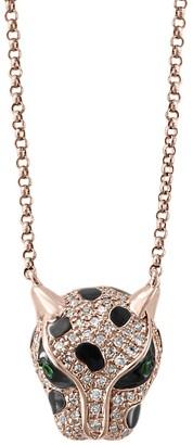 Effy Signature 14K Rose Gold, Diamond Tsavorite Panther Head Pendant Necklace