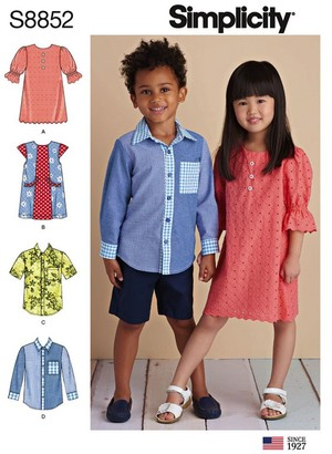 Simplicity Children's Dresses and Shirts Sewing Pattern, 8852