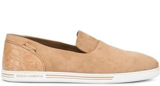 Dolce & Gabbana crocodile effect slip-on sneakers
