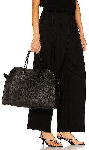 Thumbnail for your product : The Row Soft Margaux 17 Grain Leather Tote in Black
