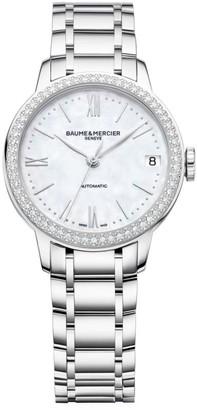 Baume & Mercier Classima Stainless Steel & Diamond Bezel Automatic Bracelet Watch